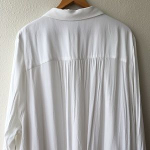 Eloquii Dresses - NWT Eloquii Lace Insert Shirt Dress White Bib Neck